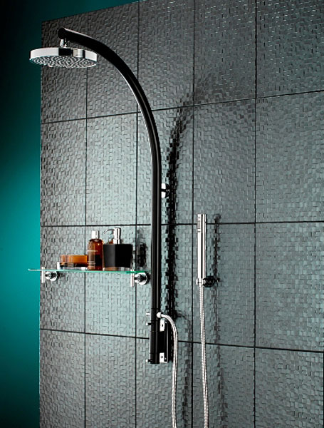 Prism Black Vertical Shower Pole