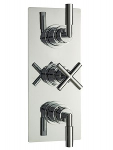 Helix Cross thermostatic triple shower valve